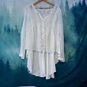 Free people short in front long white blouse top